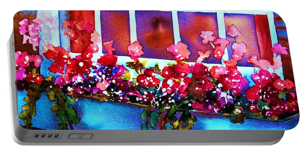 Flowerbox Portable Battery Charger featuring the painting The Flowerbox by Carole Spandau