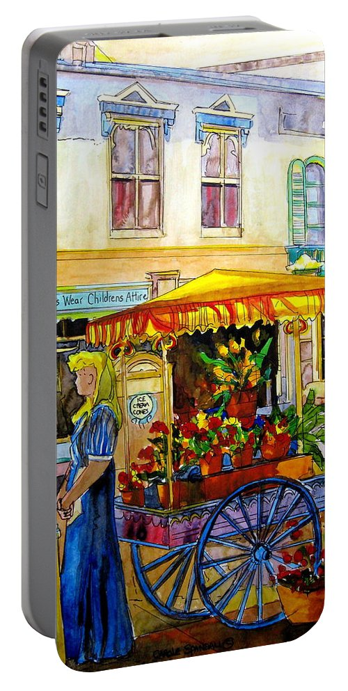 The Flowercart Portable Battery Charger featuring the painting The Flowercart by Carole Spandau