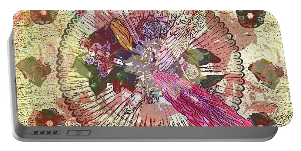 Flowers Portable Battery Charger featuring the digital art The Flowerclock by Helmut Rottler