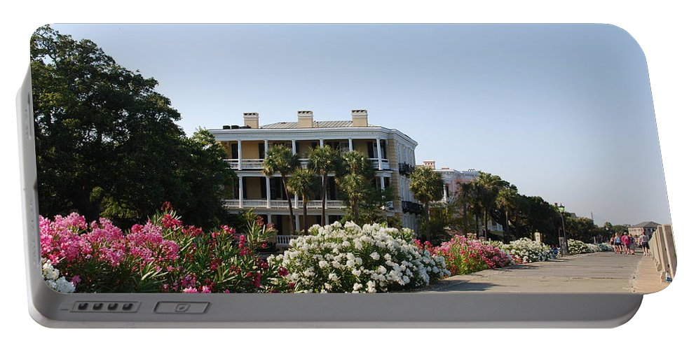 Photography Portable Battery Charger featuring the photograph The Flowers At The Battery Charleston Sc by Susanne Van Hulst
