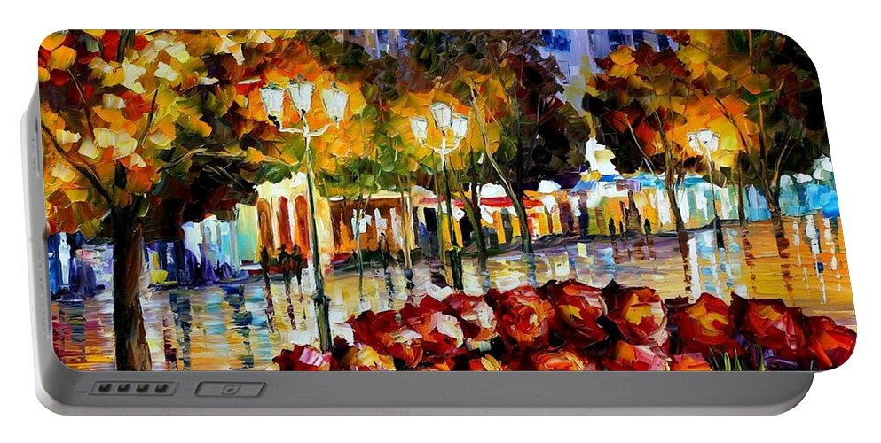 Afremov Portable Battery Charger featuring the painting The Flowers Of Luxembourg by Leonid Afremov