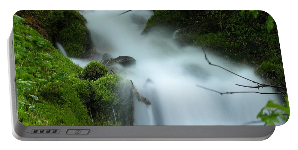 Water Portable Battery Charger featuring the photograph The Flowing Brook by DeeLon Merritt