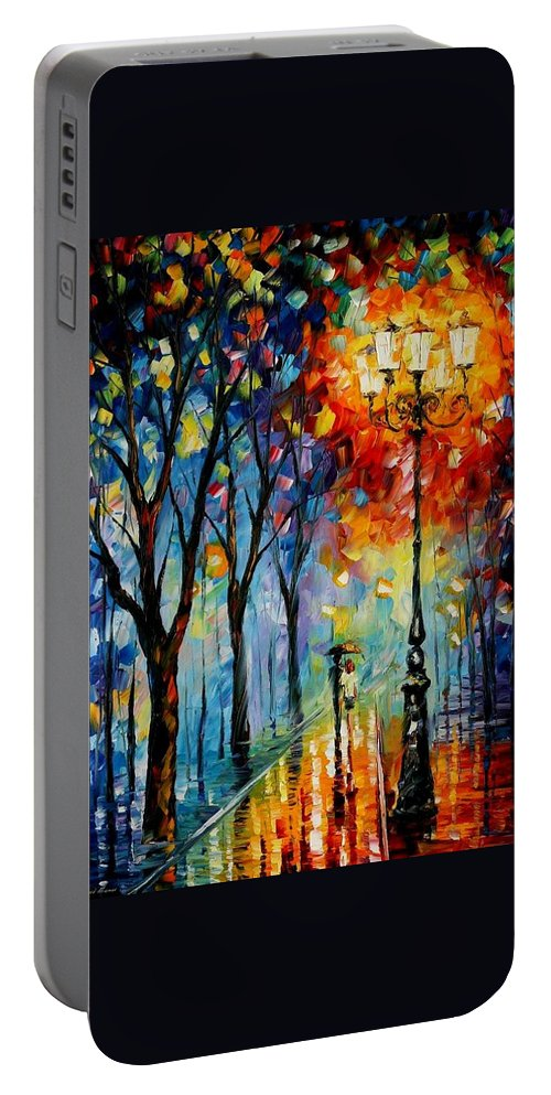 Afremov Portable Battery Charger featuring the painting The Fog Of Dreams by Leonid Afremov