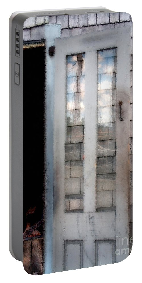 Door Portable Battery Charger featuring the painting The Forge And The Ship by RC DeWinter