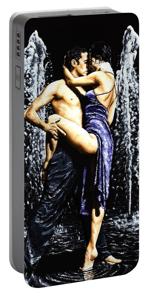 Tango Portable Battery Charger featuring the painting The Fountain Of Tango by Richard Young