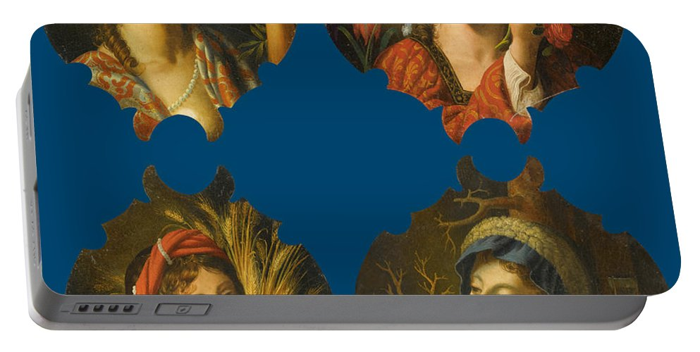 Circle Of Angelo Caroselli Portable Battery Charger featuring the painting The Four Seasons by Circle of Angelo Caroselli