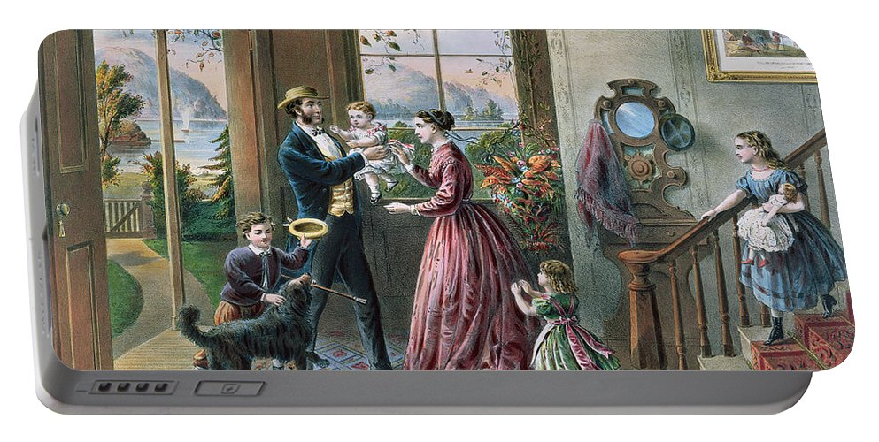 The Four Seasons Of Life: Middle Age Portable Battery Charger featuring the painting The Four Seasons Of Life Middle Age by Currier and Ives