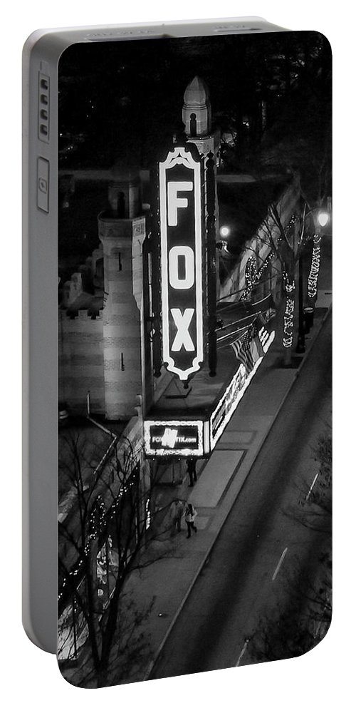 Reid Callaway Fox Theatre Portable Battery Charger featuring the photograph The Fox Thearter Bw Atlanta Night Art by Reid Callaway