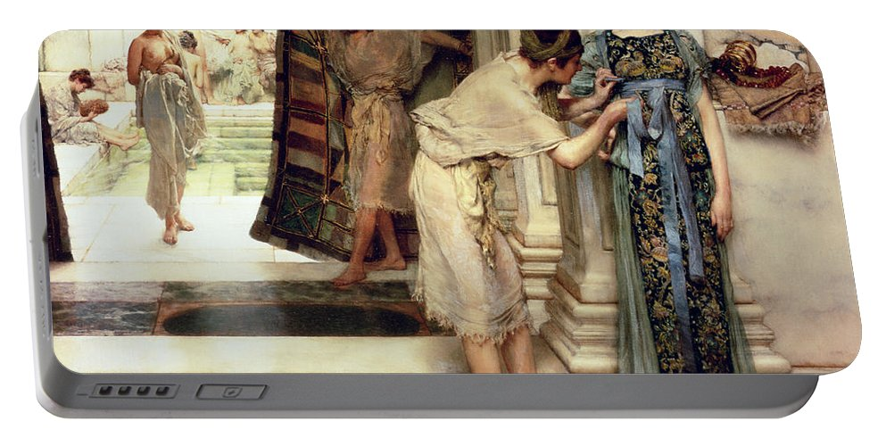 The Portable Battery Charger featuring the painting The Frigidarium by Sir Lawrence Alma-Tadema