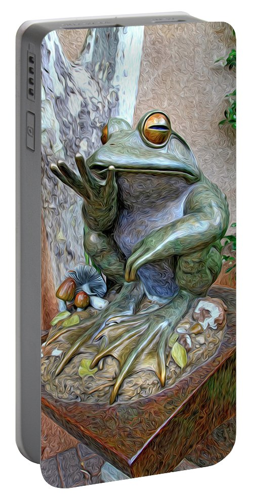 Fine Art Frog Photography. Frog Art. Wall Art Photography. Mixed Media Photography. Mixed Media Note Cards. Mixed Media Greeing Cards. Colord Frogs. Painted Frogs. Wall Art Frogs. Fine Art Frogs. Frogs. Fish. Water. Ponds. Frog Ponds. Water Fountion. Trees. Wall. Portable Battery Charger featuring the photograph The Frog by James Steele