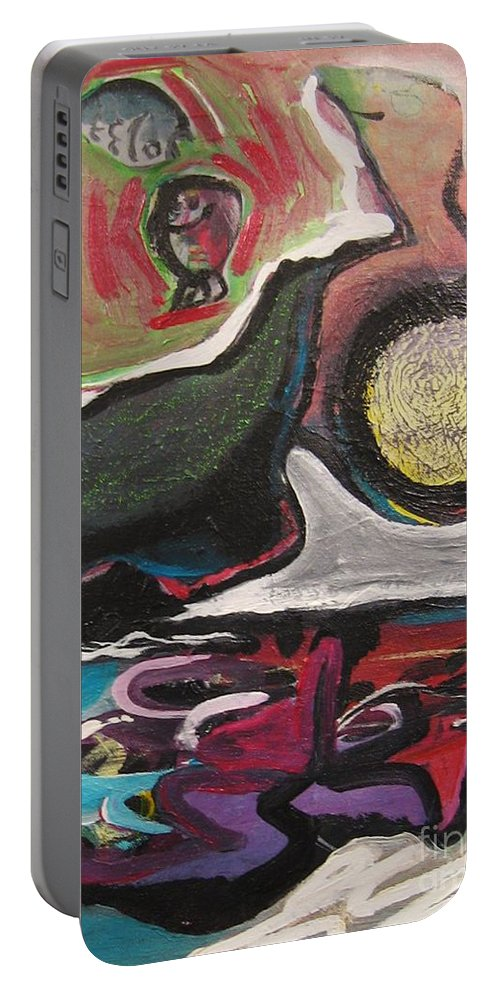 Abstract Paintings Portable Battery Charger featuring the painting The Full Moon2 by Seon-Jeong Kim
