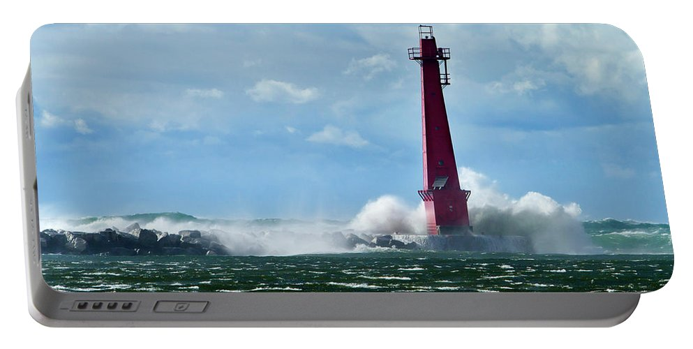 Color Portable Battery Charger featuring the photograph The Gale Of October by Frederic A Reinecke