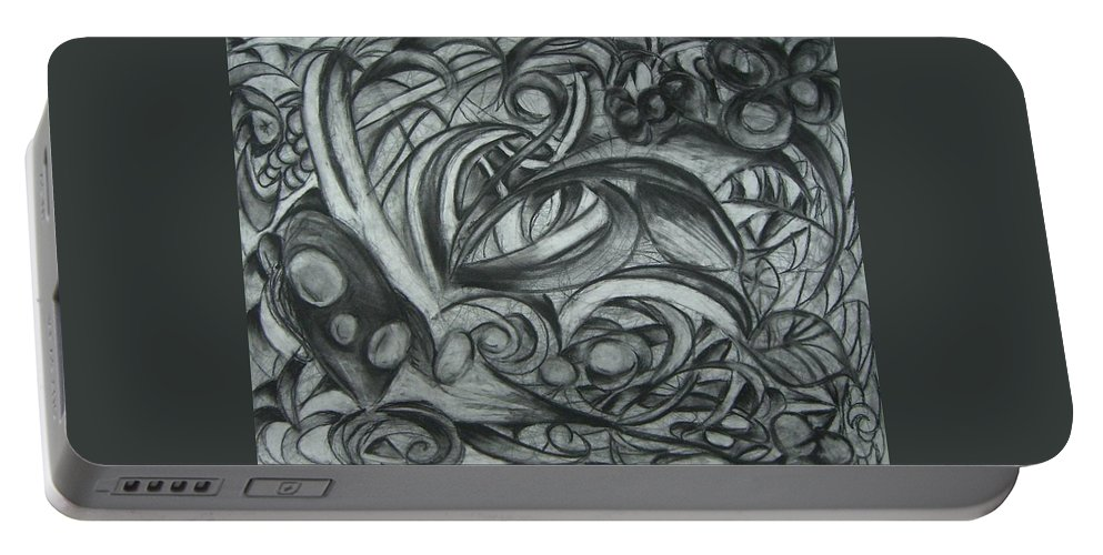 Organic Portable Battery Charger featuring the drawing The Garden by Amanda Kabat