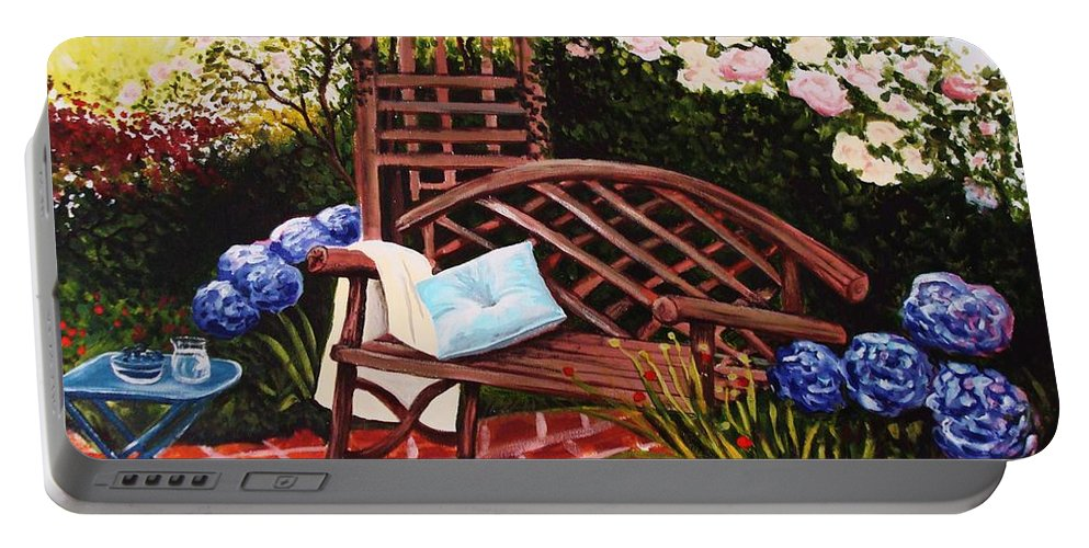 Landscape Portable Battery Charger featuring the painting The Garden by Elizabeth Robinette Tyndall