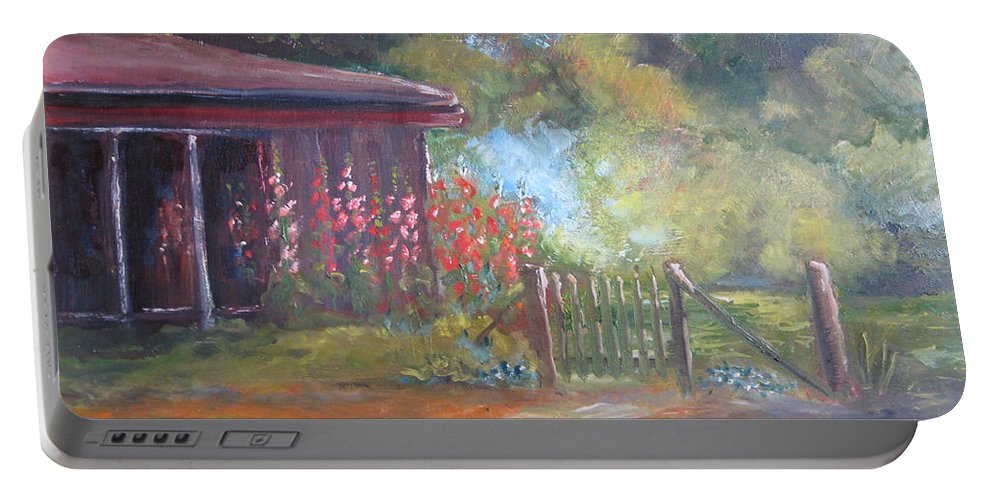 The Garden Gate Portable Battery Charger featuring the painting The Garden Gate by Jan Harvey