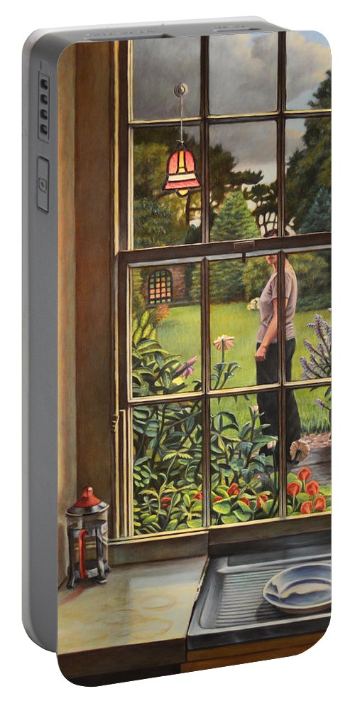 Figure Portable Battery Charger featuring the painting The Garden by Kenneth Cobb