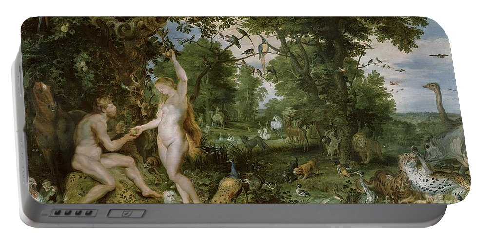 Rubens Portable Battery Charger featuring the painting The Garden Of Eden With The Fall Of Man by Jan Brueghel and Rubens