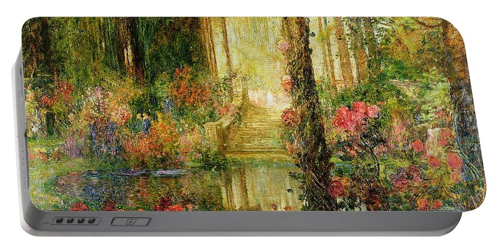 The Portable Battery Charger featuring the painting The Garden Of Enchantment by Thomas Edwin Mostyn