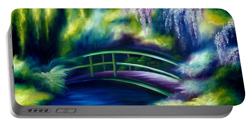 Sunrise Portable Battery Charger featuring the painting The Gardens of Givernia by James Christopher Hill