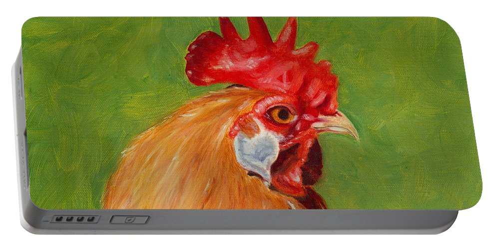 Rooster Portable Battery Charger featuring the painting The Gladiator by Paula Emery