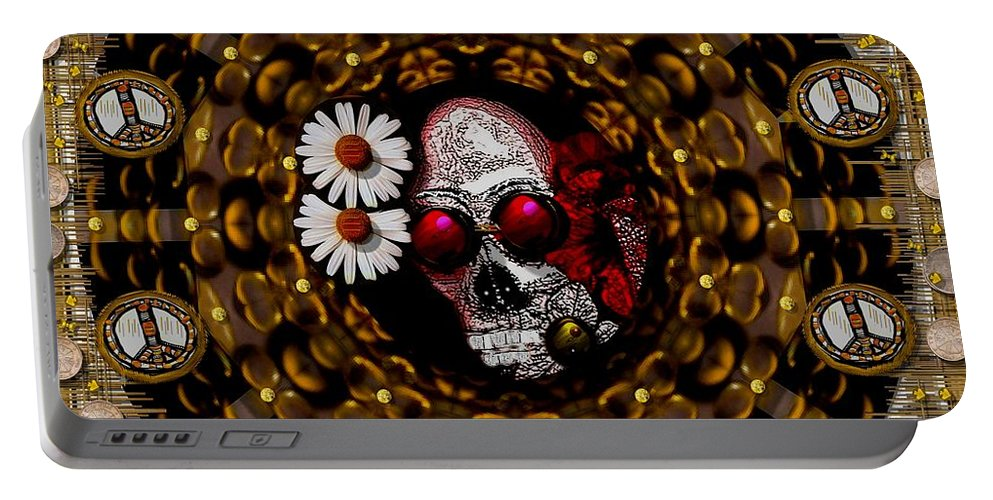 Skull Portable Battery Charger featuring the mixed media The Global Economy In Art by Pepita Selles