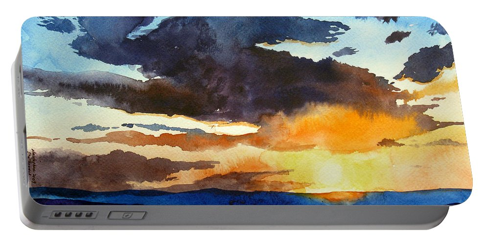 Sunset Portable Battery Charger featuring the painting The Glory Of The Sunset by Christopher Shellhammer