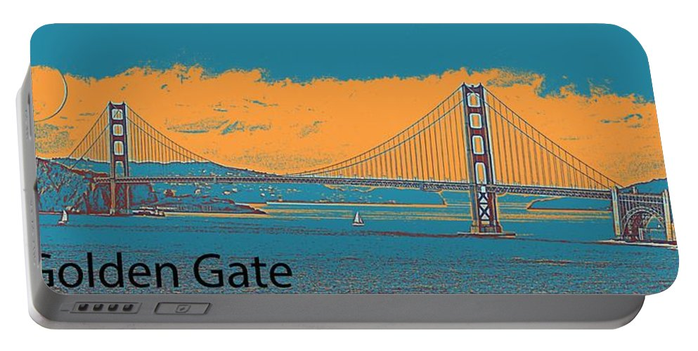 Nature Portable Battery Charger featuring the painting The Golden Gate Bridge In Sfo California Travel Poster 2 by Celestial Images