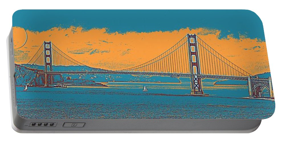 Nature Portable Battery Charger featuring the painting The Golden Gate Bridge In Sfo California Travel Poster by Celestial Images