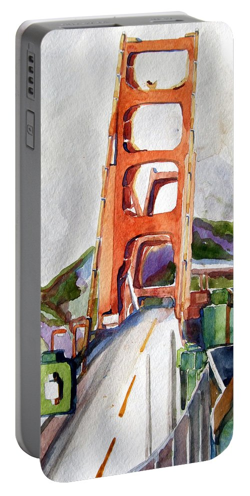 Mindy Newman Portable Battery Charger featuring the painting The Golden Gate Bridge San Francisco by Mindy Newman