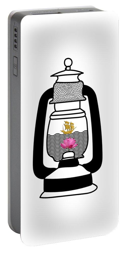 #golden #ship #success #flowers #waterpattern #artist #indianartist #ocean #pathway #beginning #art #instaart #visualart #fishpattern #work Portable Battery Charger featuring the digital art The Golden Ship by Satish Moladiya