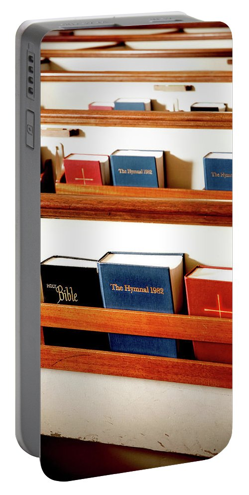 Bible Portable Battery Charger featuring the photograph The Good Books by Greg Fortier