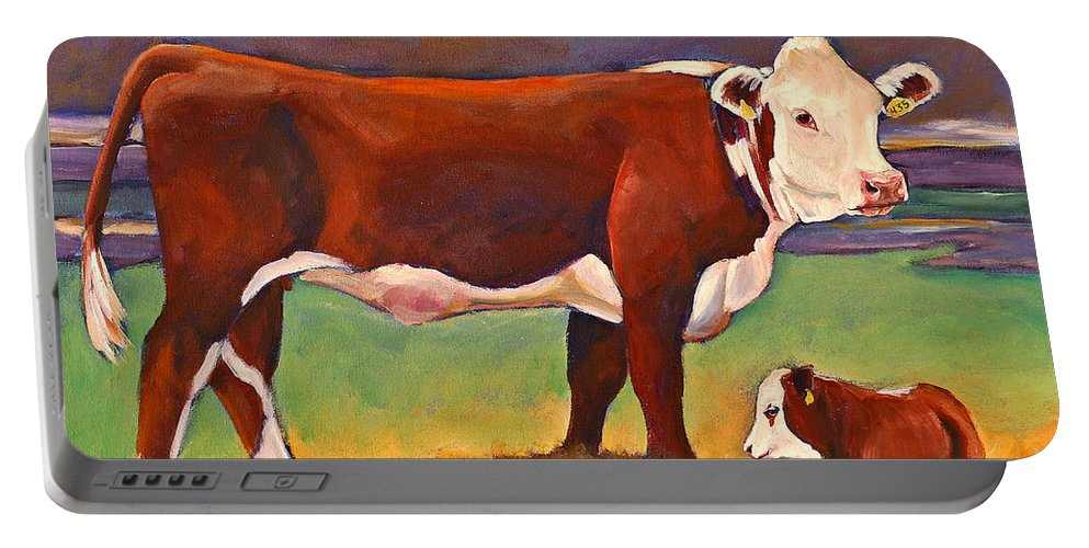 Folk Art Portable Battery Charger featuring the painting The Good Mom Folk Art Hereford Cow And Calf by Toni Grote