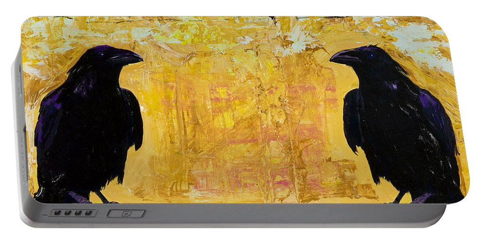 Abstract Realism Portable Battery Charger featuring the painting The Gossips by Pat Saunders-White