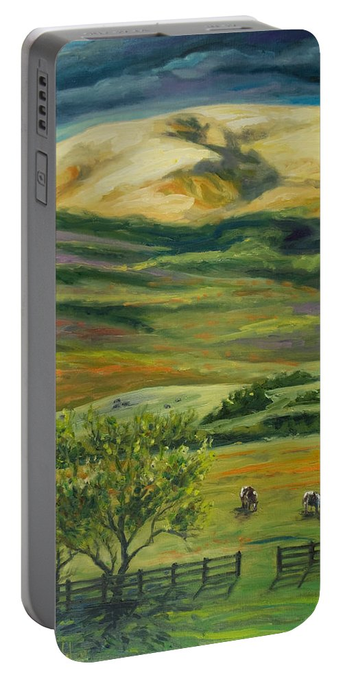 California Hills Portable Battery Charger featuring the painting The Grapevine by Rick Nederlof