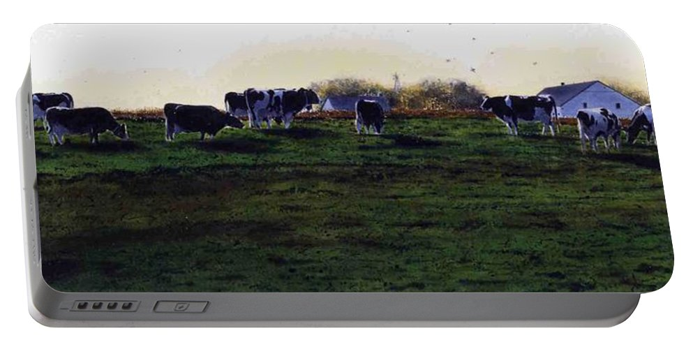 Cows Portable Battery Charger featuring the painting The Grass Is Greener by Denny Bond