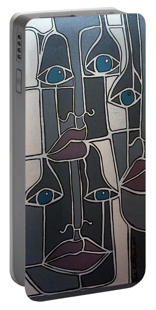 Faces Lips Eyes Noses Gray Gray Blue Gray Red Portable Battery Charger featuring the painting The Gray Faces by Rick Litteral