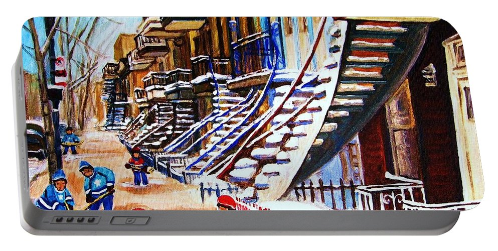 Hockey Portable Battery Charger featuring the painting The Gray Staircase by Carole Spandau
