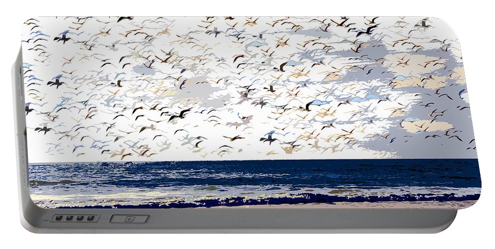 Birds Portable Battery Charger featuring the painting The Great Flock by David Lee Thompson