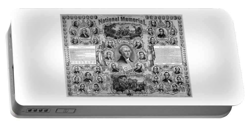 American History Portable Battery Charger featuring the mixed media The Great National Memorial by War Is Hell Store