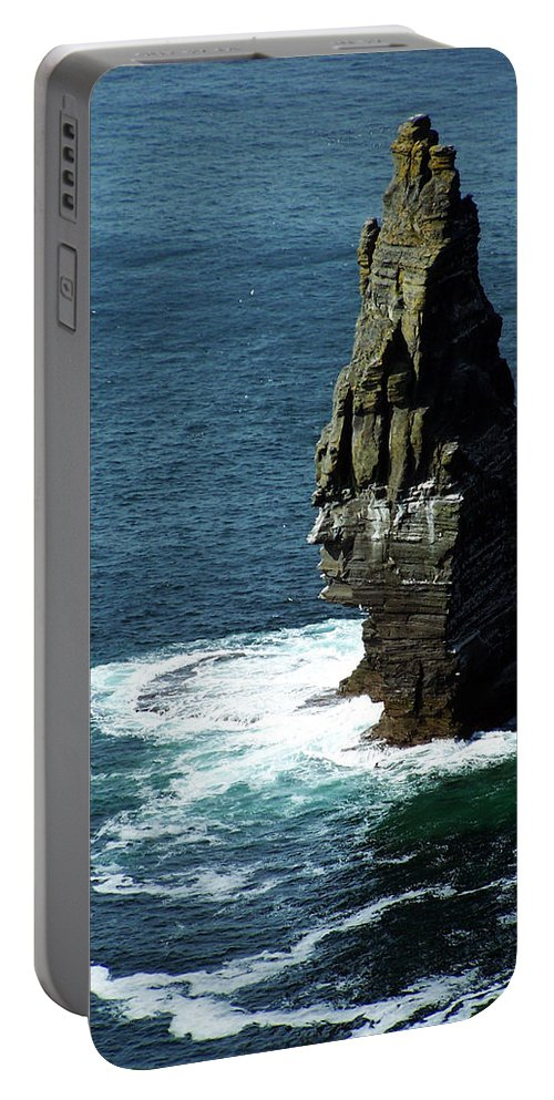 Irish Portable Battery Charger featuring the photograph The Great Sea Stack Brananmore Cliffs Of Moher Ireland by Teresa Mucha