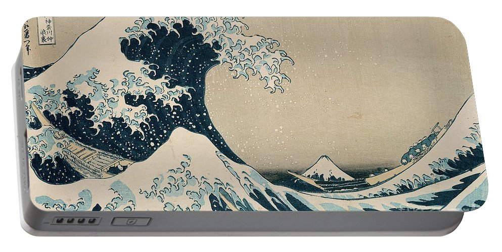 Wave Portable Battery Charger featuring the painting The Great Wave of Kanagawa by Hokusai