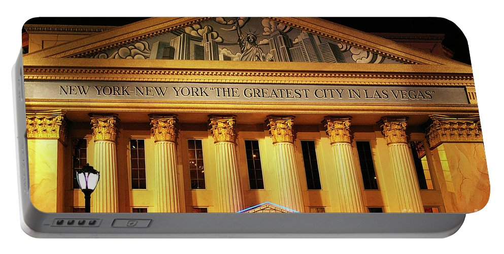 New York New York Hotel The Greatest City In Las Vegas Portable Battery Charger featuring the photograph The Greatest City In Las Vegas by Mariola Bitner