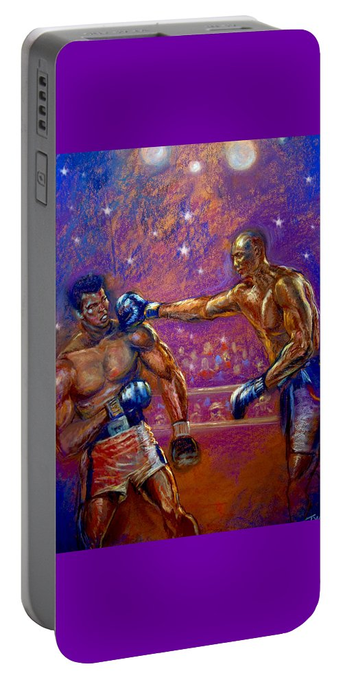 Boxing Portable Battery Charger featuring the pastel the Greatest Muhammed Ali vs Jack Johnson by Tommy Winn