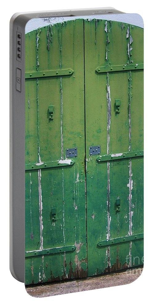 Architecture Portable Battery Charger featuring the photograph The Green Door by Debbi Granruth