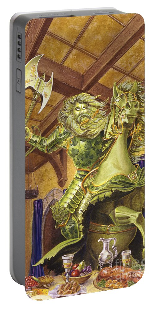 Fine Art Portable Battery Charger featuring the painting The Green Knight by Melissa A Benson