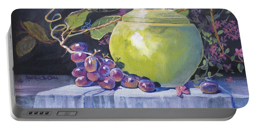 Still Life Portable Battery Charger featuring the painting The Green Pot And Grapes by Heather Coen