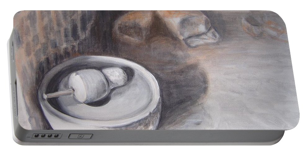 Grinding Portable Battery Charger featuring the painting The Grinding Stone by Usha Shantharam