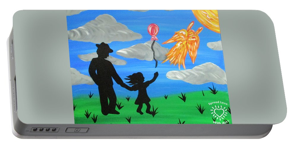 Abstract Portable Battery Charger featuring the painting The Guardian by Parker Beaudoin