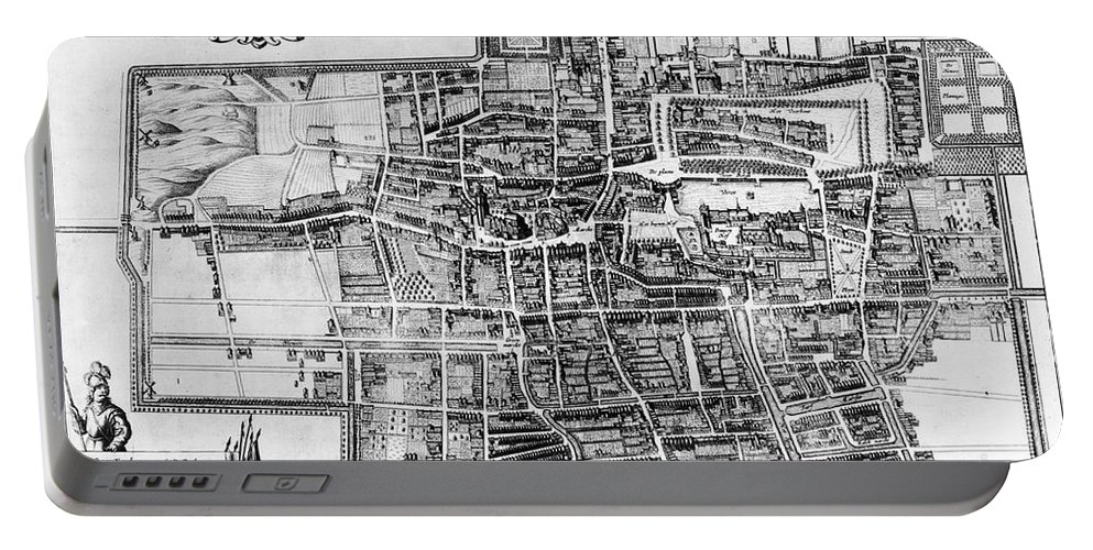 1650 Portable Battery Charger featuring the photograph The Hague: Map, C1650 by Granger