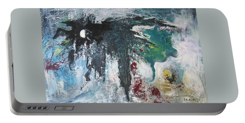 Abstract Paintings Portable Battery Charger featuring the painting The Half Moon by Seon-Jeong Kim